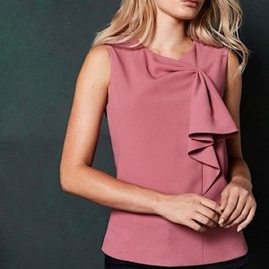 TED BAKER sculpted bow sleeveless top coral size 2